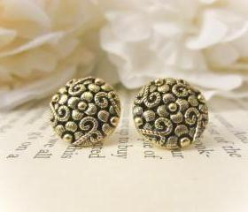 Antique Flower Earrings, Vintage Button Earrings, vintage earrings, gold studs, bridesmaid earrings, spring jewelry, Spring Wedding, April