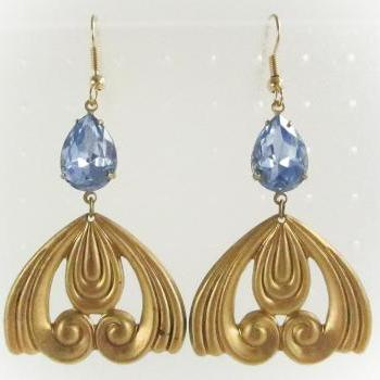 Brass Art Nouveau Swirl Pendant Earrings with a Vintage Sapphire Glass Stone Gem, Dangle Earrings, Statement, Bridesmaid, Wedding Jewelry